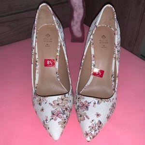 White, snakeskin textured, pink/creme flower heels